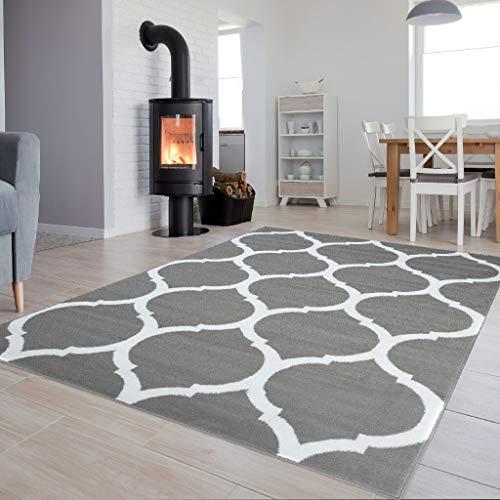 Tapiso Luxury Teppich Kurzflor Weiss Grau Modern Marokkanisch Geometrisch Gitter Muster Wohnzimmer...