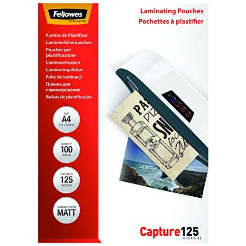 Fellowes 5328502 53285 Laminierfolie Capture 125 Mikron matt A4, 100 Stück, transparent