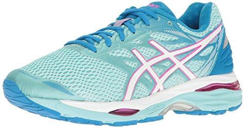 ASICS Zapatillas de correr Gel-Cumulus 18 para mujer, Azul (Aqua Splash/White/Pink Glow), 6 D US