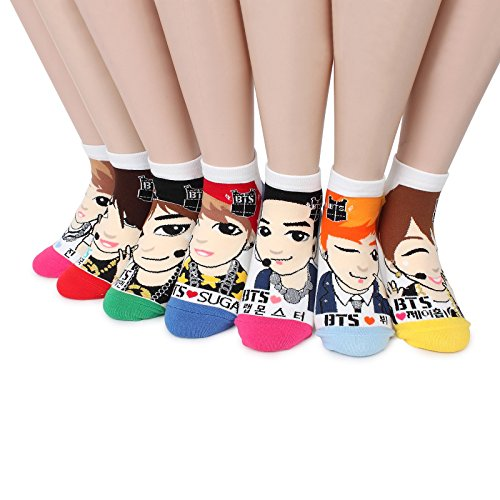 BTS K-pop Star Socks(Pack of 7pairs) NB, One Size Fits All: Womens 6-8.5