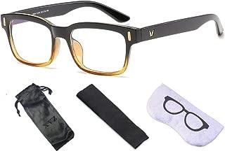 XVZ ブルーライトカット メガネ pcメガネ UVカット ウェリントン パソコン用 メガネ 軽量 輻射防止 視力保護 睡眠改善 目の疲れを緩和する 男女兼用 (黄)