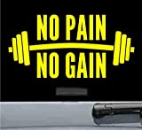 No pain no gain Vinyl Decal Sticker gym fitness workout cardio (YELLOW)