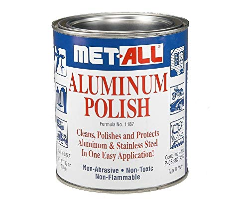 met-all Aluminum Stainless Steel Polish Cleans Polishes in One Easy Waxing 32oz + Extra Large Microfiber Polishing Cloth