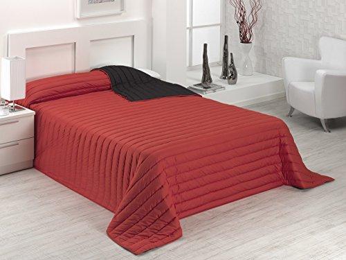 SABANALIA - Colcha Bicolor Multiuso Tutto (Disponible en Varias Medidas y Colores) - Cama 135, Rojo/Negro