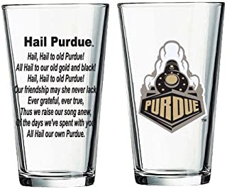 University Book Store Purdue Boilermakers Pint Glass with Train Logo and Hail Purdue