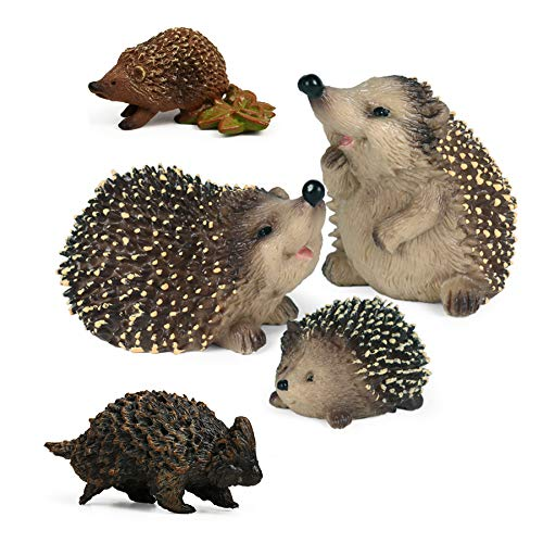 5pcs Hedgehog Toy Figures Forest Animals Figurines, Woodland Creatures Playset, Minuature Toys Cake Toppers