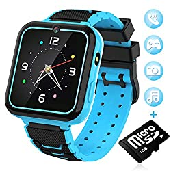 """Kids Smart Watch for Boys Girls-[SD Card Included] 1.57"""" HD Touch Screen with 7 Games Music Player Alarm Clock Record Calculator Camera Flashlight for Children Toy Birthday Gift (Blue)"""
