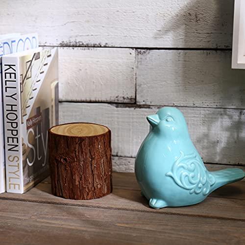 Sanbege Chubby Bird Statue 6.5  Large  Blue Glazed Ceramic Bird Ornament  Collectible Bird Figurine for Home  Garden  Party Decor