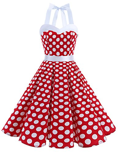 DRESSTELLS Women 50s Dress Vintage Cocktail Halter Dresses 1950s Rockabilly Audrey Hepburn Dress for Prom Bridesmaid Party Homecoming Red White Dot M
