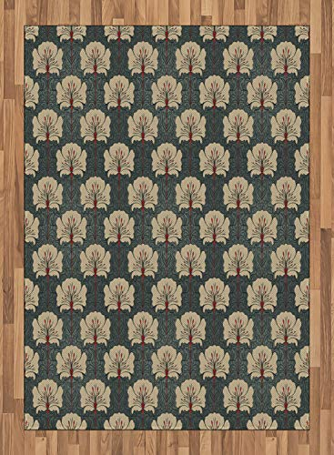 ABAKUHAUS Blumen Teppich, Jugendstil-Mohnblumen, Deko-Teppich Digitaldruck, Färben mit langfristigen Halt, 160 x 230 cm, Zinnoberrot Grau Tan