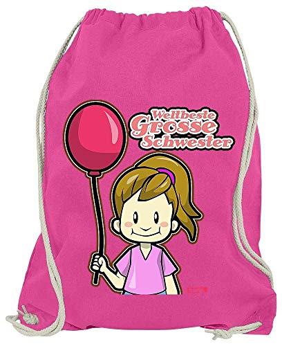 Hariz - Bolsa de deporte para hermana y niña, globo, nacimiento, hermana, más tarjeta de regalo, color rosa, tamaño talla única