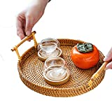 GYC Rattan Storage Tray with Handle for Bread Fruit Serving Tray Hand-Woven Rattan Tray Wicker Basket Shelf Baskets