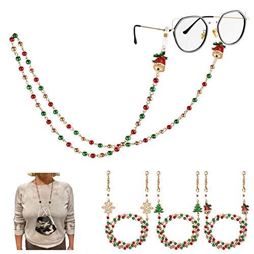 PHALIN Christmas Mask Lanyard Beaded Glasses Chain Necklace Face Cover Holder Mask Leash for Women Men Girls (3PCS Gold+Red+Green Beads)