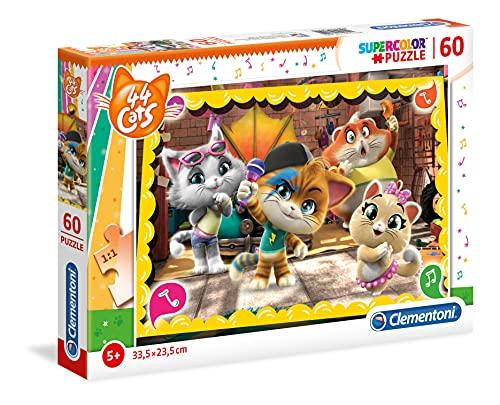 Clementoni 44 Cats Supercolor Puzzle-44 Gatti-60 pezzi, Multicolore, 26052