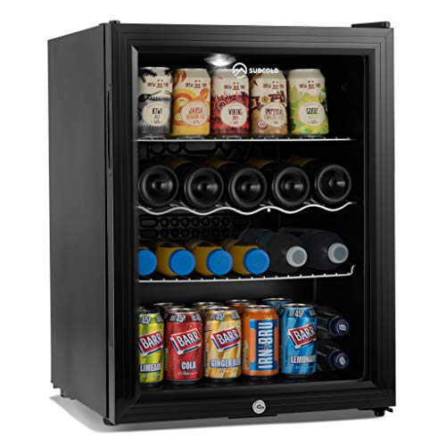Subcold Super65 LED - Table-Top Fridge | 65L Beer, Wine & Drinks Fridge | LED Light + Lock & Key | Energy Efficient (Black)