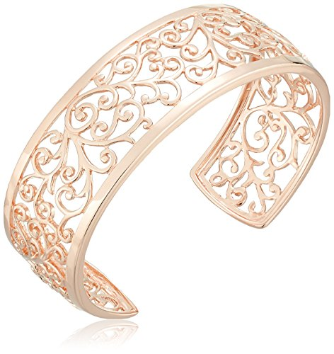 14k Rose Gold Plated Sterling Silver Filigree Open Cuff Bracelet, 6.5'