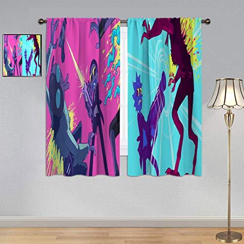 ARYAGO Black Out Cortinas Rick and Morty Cortinas para ventana, cortinas para dormitorio infantil de 106 x 107 cm