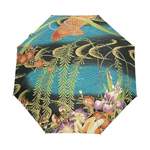 Small Travel Umbrella Windproof Outdoor Rain Sun UV Auto Compact 3 Folds Umbrellas Cover - Carp