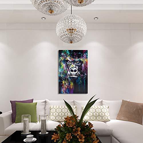GWFVA Schilderijen, goud dierlijke olie frameloze orang-oetan staal schilderij, olie geschilderd handgemaakte dier