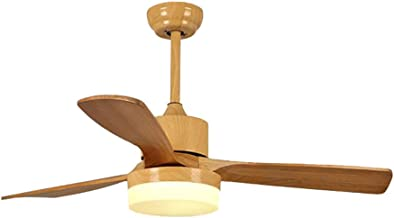 """52""""/132cm Nordic Ceiling Fan with 15w Led Light and 3 X Solid Wood Blades 3 Speed Control, Home Living Room Dining Room Fa..."""