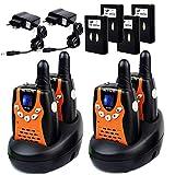 Retevis RT602 Walkie Talkie Niños Recargable PMR446 8 Canales VOX Linterna Pantalla LCD Regalo para Niños Walkie Talkie Juguete con Cargador y Batería (Negro y Naranja, 2 Pares)