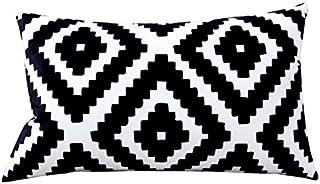 30 * 50cm Coussins géométriques Double-Face d'oreiller de Sofa Noir et Blanc, Coussins lombaires d'oreiller de Bureau (Cou...