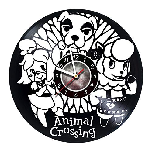 InnasSHOP Animal Crossing Vinyl Record Wall Clock - Best Gift for Boss Dad Mom Boy Girl Kovides Vinyl Wall Clock Home Decoration Room Inspirational, Vinyl Wall Clock Silent Wall Art (3)