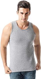Inlefen Men's Thermal Tops Warm Vest Tank Top Round Neck Sleeveless Soft Warm Man Thick Thermal Vest Underwear Bottoming Shirt