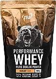 nu3 Performance Protein Whey - 1kg de proteína de suero en polvo sabor avellana - 74.5% contenido proteico (isolate) + aminoácidos BCAA - Batido para ganar masa muscular - Altamente soluble