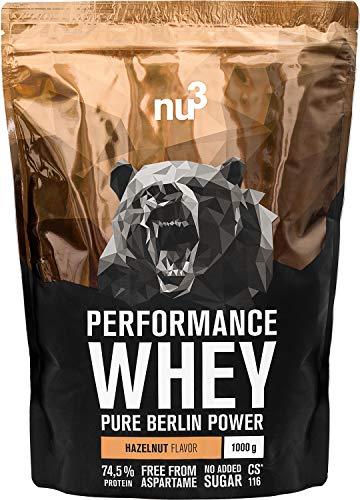 nu3 Performance Protein Whey - 1kg de proteína de suero en polvo sabor avellana - 74.5% contenido proteico (isolate) + aminoácidos BCAA   Batido para ganar masa muscular   Altamente soluble