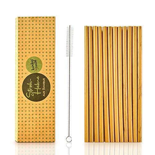 bambuswald© Cannucce in legno di bamboo ecologiche e sostenibili, cannucce riutilizzabili e lavabili, set 12 cannucce di bambù per aperitivo