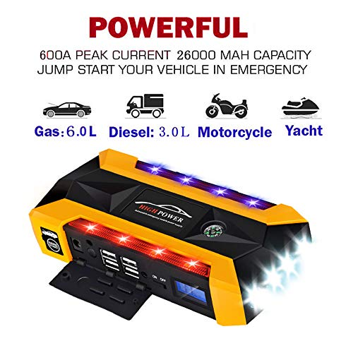 Affordable HUIGE Car Jump Starter Portable 600A Car Battery Booster Charger,and Cigarette Lighter Ad...