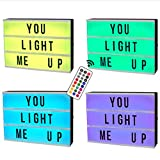 lijun A5 Size Mini Magnetic 7 Colors Changing Cinematic Night Light LED Message Box with 90 Letters Numbers Symbols Remote Control Decorations