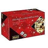 Idena 31857 - Microcadena de luces LED con 200 LED en blanco cálido, función de temporizador de 8 horas, enchufe y transformador, para fiestas, navidad, decoración, bodas, como luz de ambiente