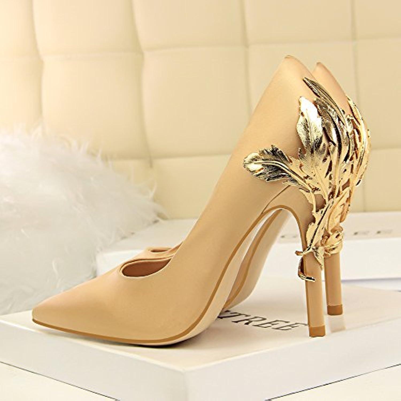 Xue Qiqi Damen Schuhe High Heels high-heeled Damast licht Düsenspitze Nacht durch Metall Blaumen einzelne Schuhe gefolgt B07DB8WHC2  Hochwertige Produkte