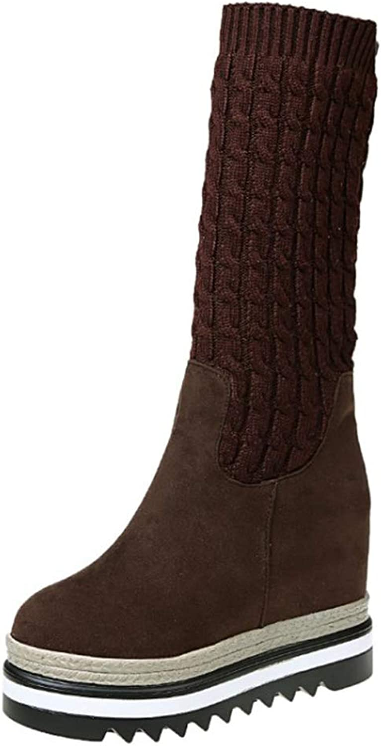 Endand Women Boots Spring Autumn Winter Female Boots Mid Calf Height Increasing Booties for Women shoes Black Brown