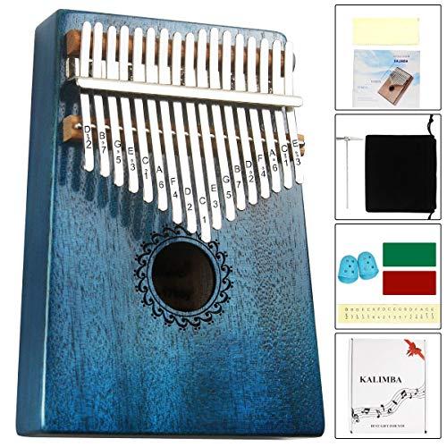 Kalimba Thumb Piano 17 Keys with mahogany Wood Portable Mbira Finger Piano Gifts for Kids and piano Beginners Professional (Bright blue)