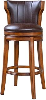 Mozusa Retro Bar heces clásico de madera Silla de la barra giratoria Silla de la barra con de nuevo juego for Bares encimeras de cocina cafés bar Living Room Decoration (Color: Marrón, Tamaño: 47X47X9