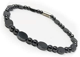 LZD Hematite Non-Magnetic Bracelet Mens Womens Unisex Bead Black Magnetic Clasp X43