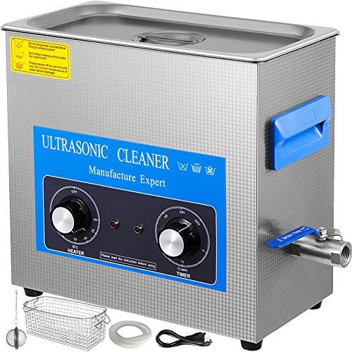 VEVOR Pulitore ad Ultrasuoni Macchina di Pulizia in Acciaio Inossidabile con Timer Digitale Doppio Pomello per Uso Domestico Commerciale Laboratorio (6.5L)