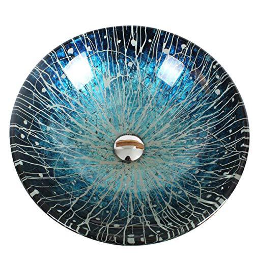 NANXCYR badkamermeubel Vessel Artistico Moderna handgemaakt badkamermeubel met pop-up blauw