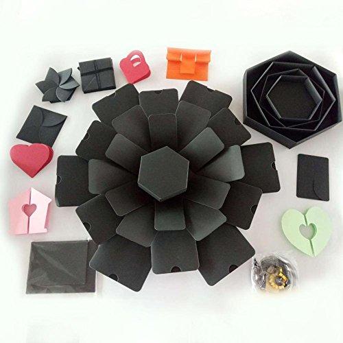 Ingeniously Geschenkbox DIY Fotoalbum Innovative Geschenkbox DIY Fotoalbum Box Hexagon 5-lagige 6-seitige Explosions-Geschenkbox für Hochzeits-Verlobungs-Geburtstags-Jahrestags-Geschenke