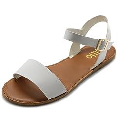 c115e4d683b7a Ollio Women s Shoe Comfort Simple Basic Ankle Strap Flat Sandals