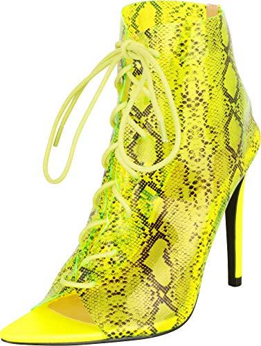 Cambridge Select Damen Stiletto High Heel Stiefeletten mit offenem Zehenbereich, durchsichtig, zum Schnüren, Gr�n (Limettenschlange), 37.5 EU