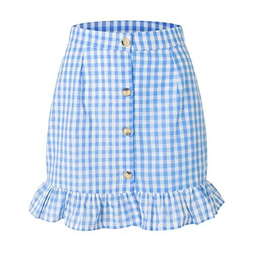 Falda con Volantes A Cuadros De Verano para Mujer, Falda De Cintura Alta con Botones De Un Solo Pecho, Falda A Cuadros Fresca PequeñA para Mujer