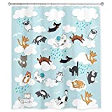 SVBright Raining Cats and Dogs Shower Curtain Funny Kids Cartoon Cute Animal 60Wx72L Inch Hilarious Pets Playing Water 12 Pack Hooks Polyester Waterproof Fabric Bathroom Bathtub Panels