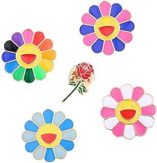 Belons 5 broches coloridos con diseño de girasol, con forma de sonrisa, esmaltados, broche de solapa, para ropa, accesorio...