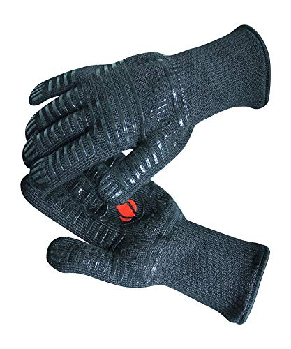 BBQ Gloves Heat Resistant 1,472℉ Extreme. Dexterity in Kitchen to Handle Cooking Hot Food in Oven, Cast Iron, Pizza, Baking, Barbecue, Smoker & Camping. Multi-Purpose Fireproof Use for Men & Women. GRILL HEAT AID