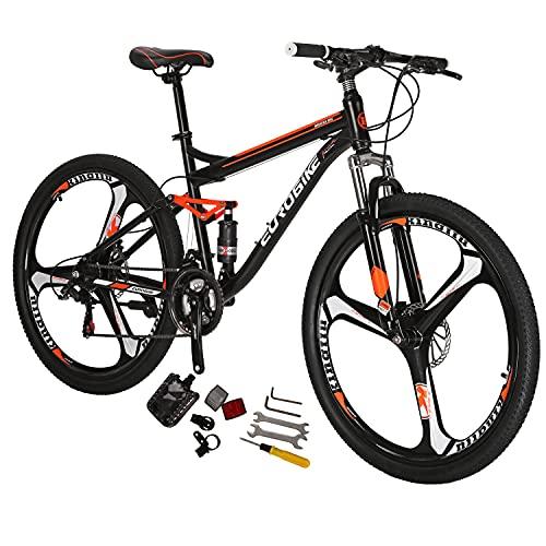 Eurobike S7 Mountain Bike 21 Speed Dual Suspension Mountain Bike 27.5 Inches Mag Wheels Bicycle Black Orange