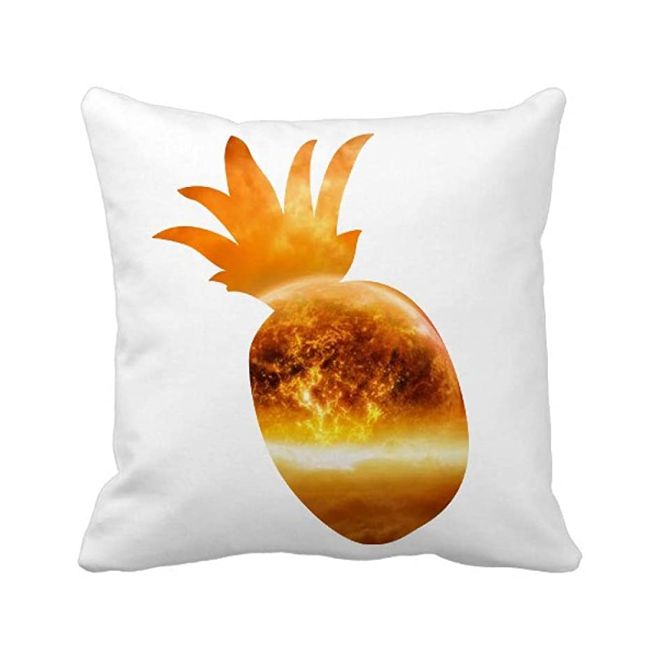 エクステント誇張取り戻す火炎燃焼パターンのような金色の赤い惑星 パイナップル枕カバー正方形を投げる 50cm x 50cm